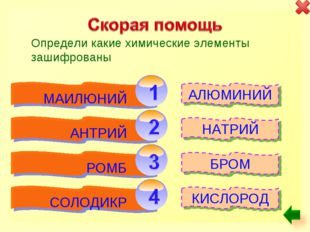 Определи какие химические элементы зашифрованы АЛЮМИНИЙ КИСЛОРОД БРОМ НАТРИЙ