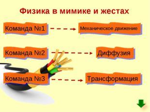 Физика в мимике и жестах Команда №1 Механическое движение Диффузия Команда №2