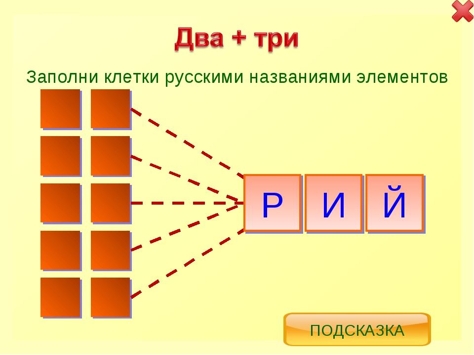 Р И Й Заполни клетки русскими названиями элементов ПОДСКАЗКА