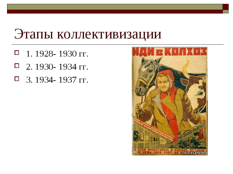 Этапы коллективизации 1. 1928- 1930 гг. 2. 1930- 1934 гг. 3. 1934- 1937 гг.