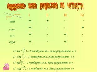 функция четверть sin ( ) – 2 четверть, т.е. знак результата «+» cos( ) – 1 че