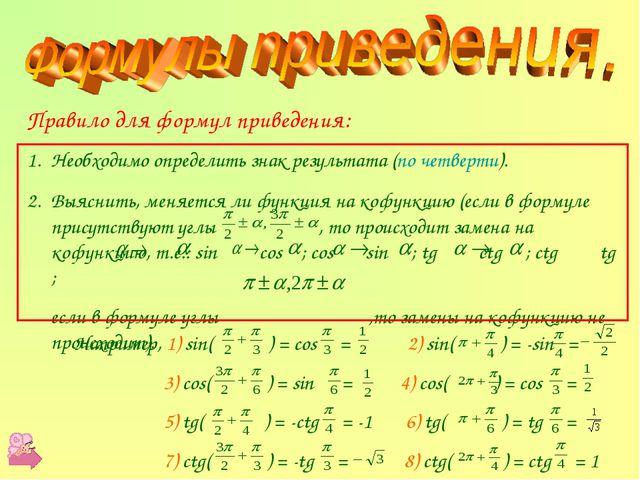 Правило для формул приведения: Необходимо определить знак результата (по чет...