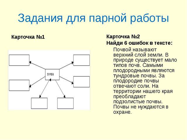 Задания для парной работы Карточка №1 Карточка №2 Найди 6 ошибок в тексте: По...