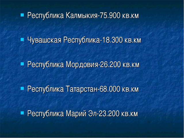 Республика Калмыкия-75.900 кв.км Чувашская Республика-18.300 кв.км Республика...
