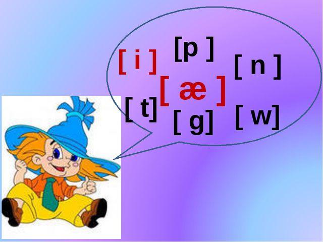 [ i ] [p ] [ n ] [ g] [ w] [ t] [ æ ]