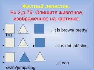 Жёлтый лепесток. Ex.2,p.76. Опишите животное, изображённое на картинке. . It