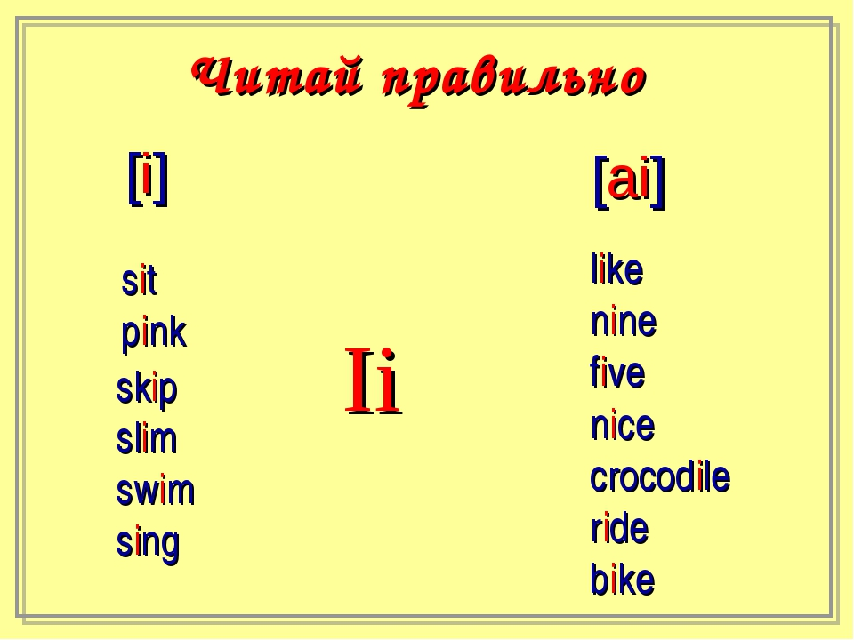 Ii [i] [ai] sit pink skip slim swim sing like nine five nice crocodile ride b...