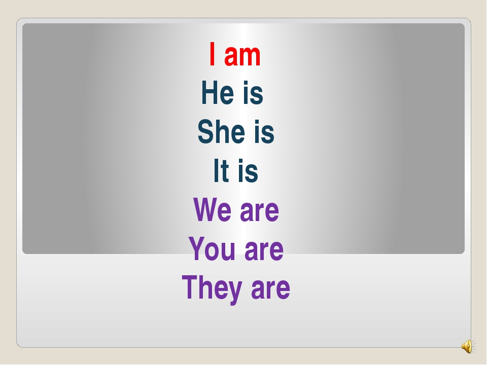 I am He is She is It is We are You are They are