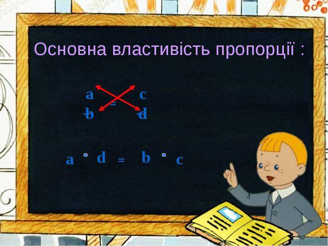 Основна властивість пропорції : = a b с d =