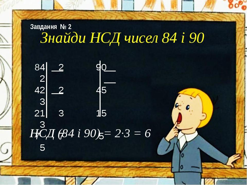 84 2 90 2 42 2 45 3 21 3 15 3 7 7 5 5 Знайди НСД чисел 84 і 90 НСД (84 і 90)...