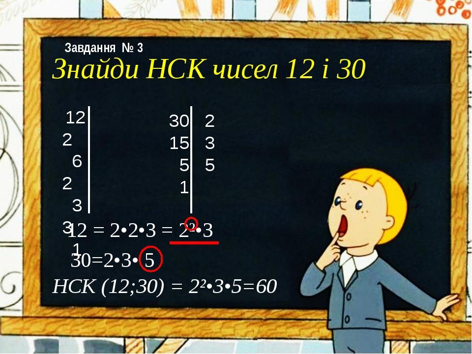 Знайди НСК чисел 12 і 30 12 2 6 2 3 3 1 30 2 15 3 5 5 1 12 = 2•2•3 = 2²•3 30=...