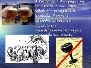 В Российской Федерации на протяжении 2009-2010 годов, по оценкам А.В. Немцова