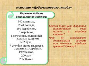 Источник «Добыча первого похода» 340 пленных, 2041 лошадь, 191 жеребенок, 6