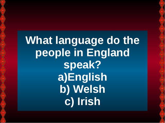 What language do the people in England speak? English Welsh Irish