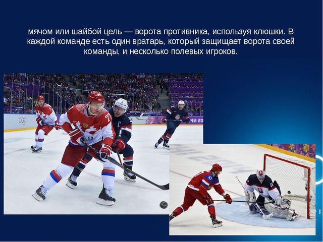 Хокке́й — это вид спорта, в котором две команды стараются поразить мячом или...