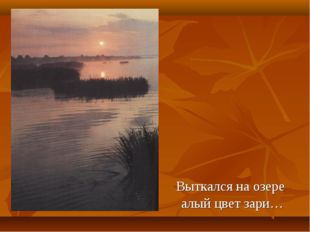 Выткался на озере алый цвет зари…