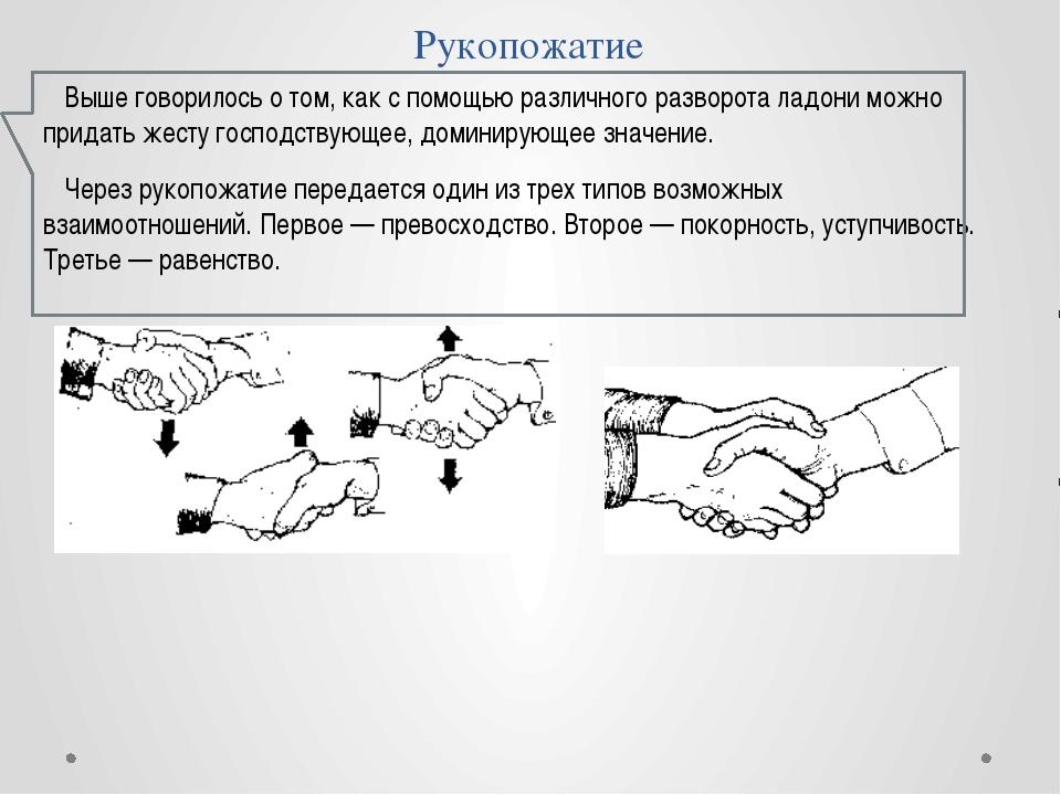 Рукопожатие Выше говорилось о том, как с помощью различного разворота ладони...