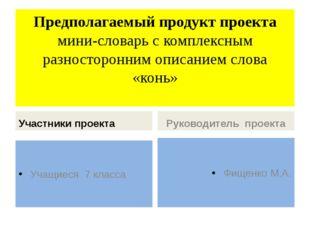Предполагаемый продукт проекта мини-словарь с комплексным разносторонним опис