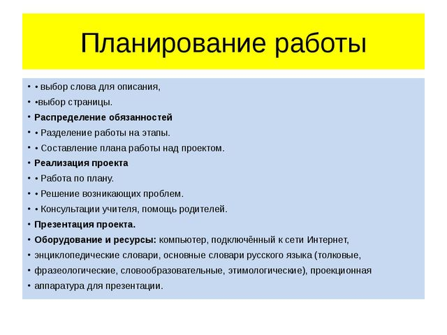 Планирование работы • выбор слова для описания, •выбор страницы. Распределени...