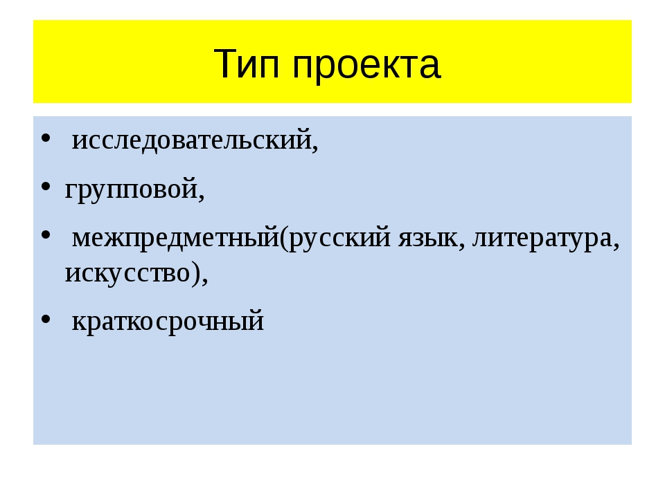 Тип проекта исследовательский, групповой, межпредметный(русский язык, литерат...