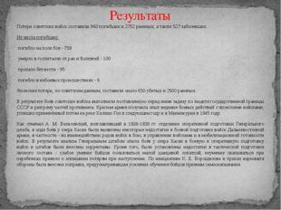 Потери советских войск составили 960 погибших и 2752 раненых, а также 527 заб