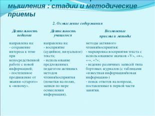 Технология развития критического мышления : стадии и методические приемы