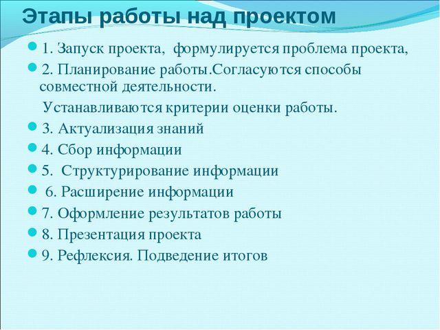 Этапы работы над проектом 1. Запуск проекта, формулируется проблема проекта,...