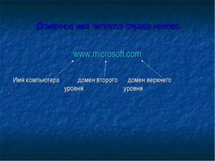 Доменное имя читается справа налево www.microsoft.com Имя компьютера домен в