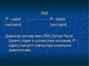 DNS IP – адрес IP – адрес (числовой)(текстовой) Доменная систем