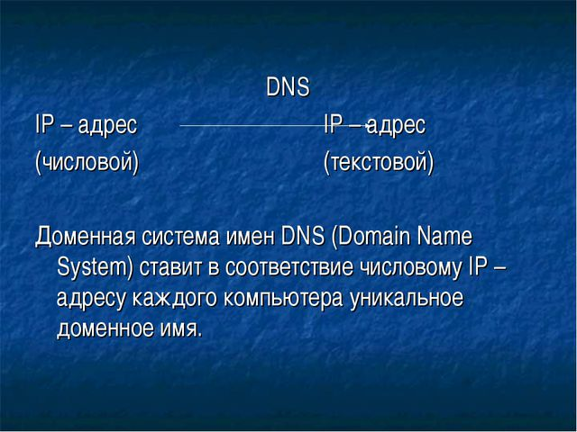 DNS IP – адрес IP – адрес (числовой)(текстовой) Доменная систем...