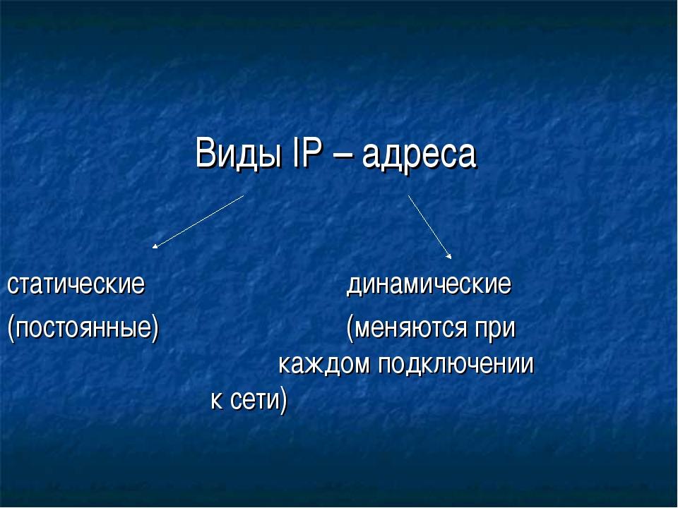 Виды IP – адреса статическиединамические (постоянные)(меняются при...