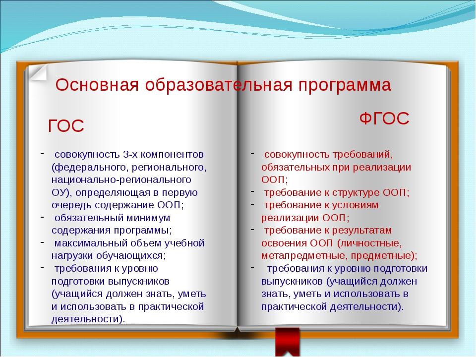 Основная образовательная программа ГОС ФГОС совокупность 3-х компонентов (фед...