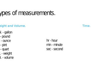 Types of measurements. Weight and Volume. gal. - gallon lb - pound oz - ounce