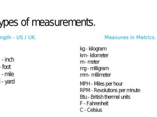 Types of measurements. Length - US / UK. in. - inch ft - foot mi - mile yd -