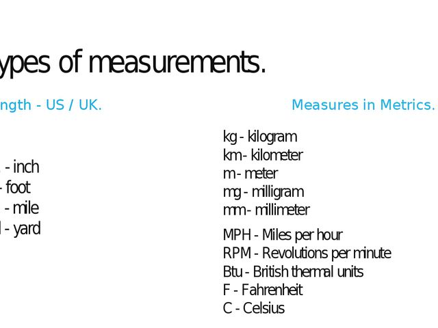Types of measurements. Length - US / UK. in. - inch ft - foot mi - mile yd -...