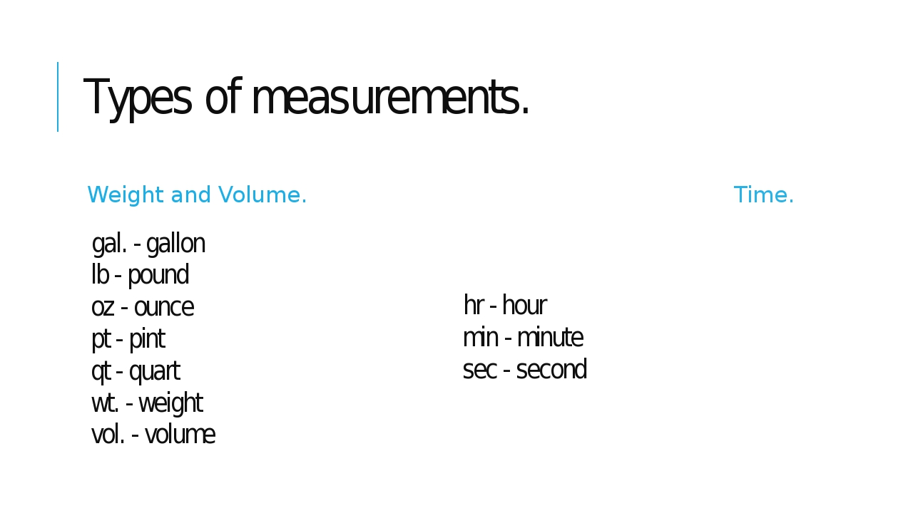 Types of measurements. Weight and Volume. gal. - gallon lb - pound oz - ounce...