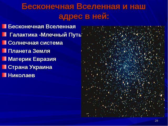 * Бесконечная Вселенная и наш адрес в ней: Бесконечная Вселенная Галактика -М...
