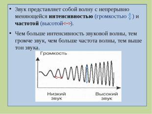 Звук представляет собой волну с непрерывно меняющейся интенсивностью (громко