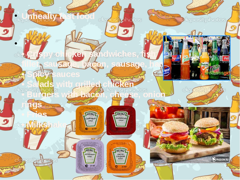 Unhealty fast food  • Crispy chicken sandwiches, fish fillet, sausage, bacon...