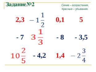 Задание№2 Синие – возрастания, Красные – убывания. 2,30,15 - 7- 8- 3,5