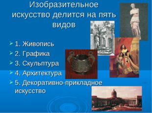 Изобразительное искусство делится на пять видов 1. Живопись 2. Графика 3. Ску