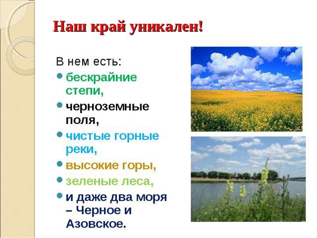 Наш край уникален! В нем есть: бескрайние степи, черноземные поля, чистые гор...