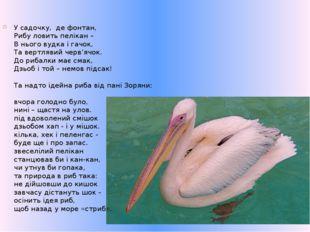 У садочку,де фонтан, Рибу ловить пелікан – В нього вудка і гачок, Та вертля