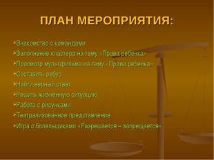 ПЛАН МЕРОПРИЯТИЯ: Знакомство с командами Заполнение кластера на тему «Права р