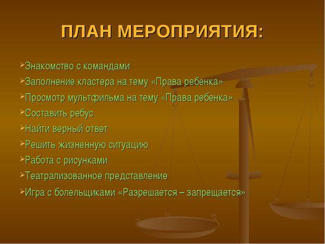 ПЛАН МЕРОПРИЯТИЯ: Знакомство с командами Заполнение кластера на тему «Права р...