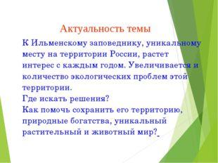 Актуальность темы К Ильменскому заповеднику, уникальному месту на территории