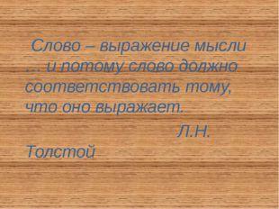 Слово – выражение мысли … и потому слово должно соответствовать тому, что он