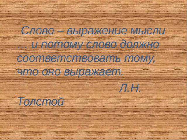 Слово – выражение мысли … и потому слово должно соответствовать тому, что он...