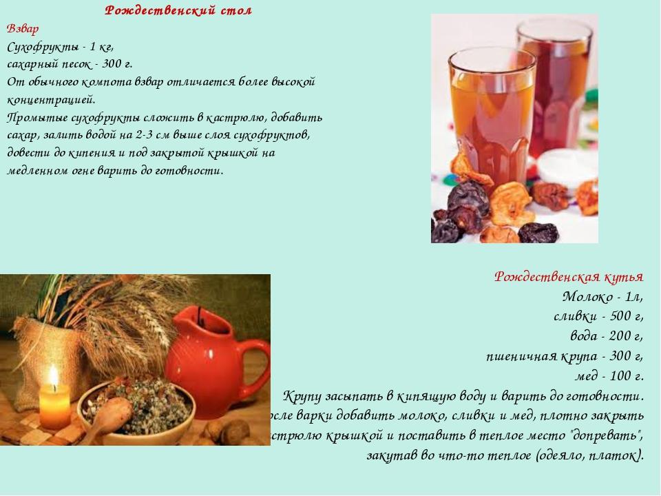 Рождественский стол Взвар Сухофрукты - 1 кг, сахарный песок - 300 г. От обычн...