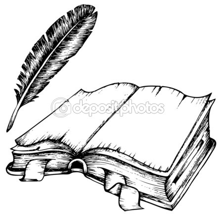 http://static7.depositphotos.com/1005091/778/v/450/depositphotos_7788705-Drawing-of-opened-book-with-feather.jpg
